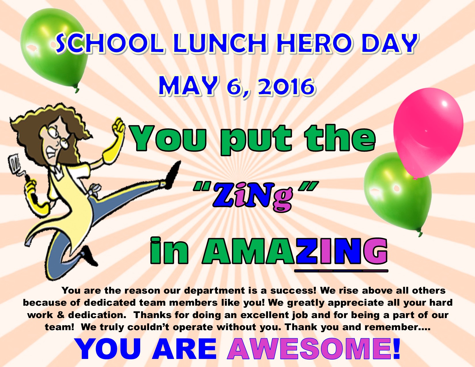 school lunch hero day food and nutrition services school lunch hero day 2016