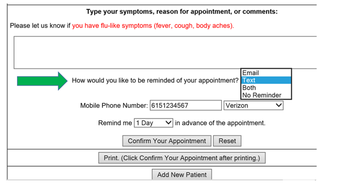 appointment reminder notifications pasco go healthy