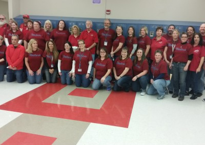 Bayonet Point Middle School celebrating National Wear Red Day